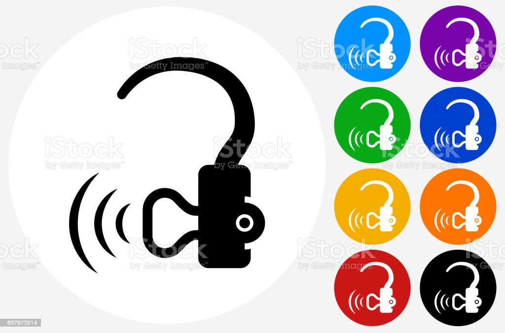 Hearing Aid Icon on Flat Color Circle Buttons vector art illustration