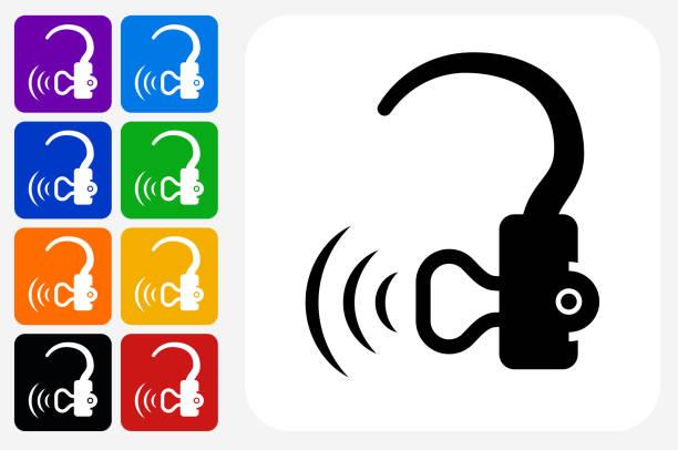 助聽器圖示方形按鈕設置 - hearing aid 幅插畫檔、美工圖案、卡通及圖標