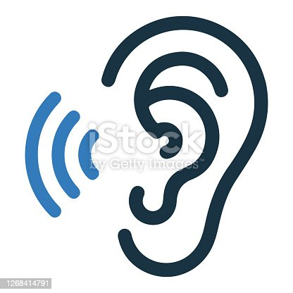 istock Hearing, ear icon, vector graphics 1268414791