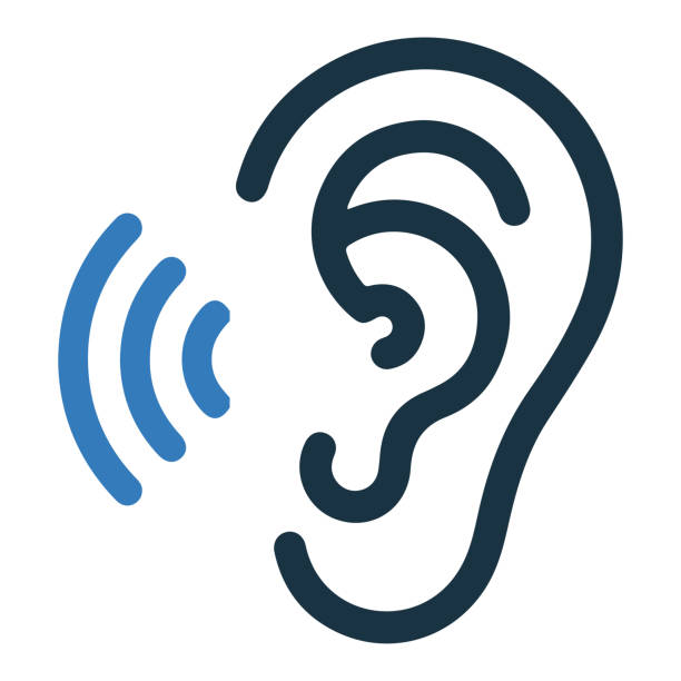 Hearing, ear icon, vector graphics Hearing, ear icon is isolated on white background. Simple vector illustration for graphic and web design or commercial purposes. blue symbols stock illustrations