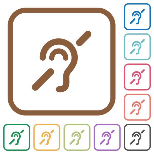 illustrazioni stock, clip art, cartoni animati e icone di tendenza di hearing impaired simple icons - sordità