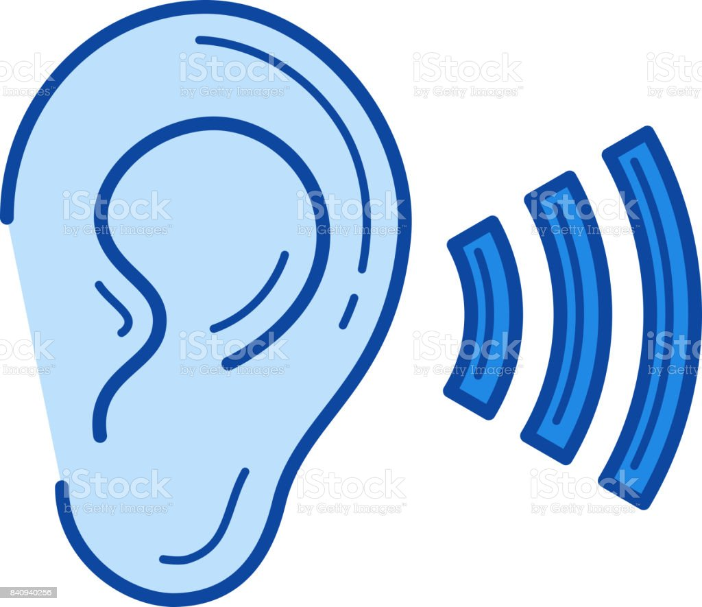 Hearing line icon vector art illustration