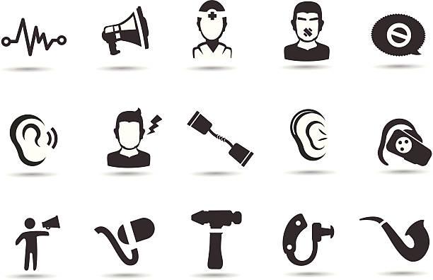 hearing loss icons - hearing aid 幅插畫檔、美工圖案、卡通及圖標