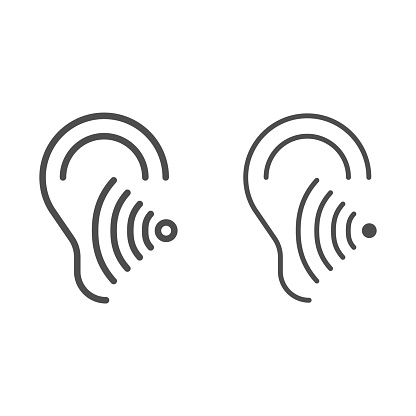 Hearing test line and solid icon, Medical tests concept, Volume listen sign on white background, Sound wave going through human ear icon in outline style for mobile and web design. Vector graphics.