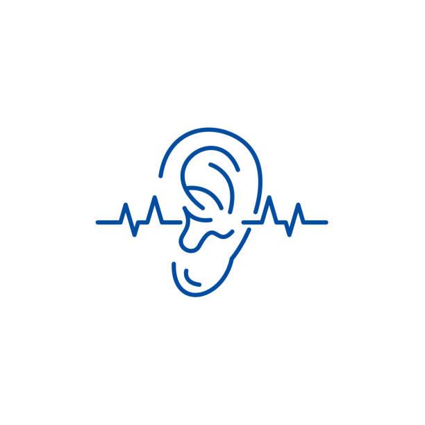 illustrazioni stock, clip art, cartoni animati e icone di tendenza di hearing test line icon concept. hearing test flat  vector symbol, sign, outline illustration. - sordità
