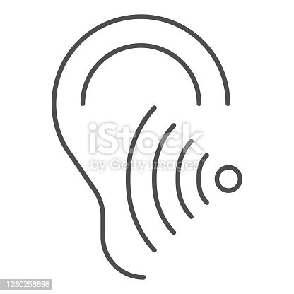 istock Hearing test thin line icon, Medical tests concept, Volume listen sign on white background, Sound wave going through human ear icon in outline style for mobile and web design. Vector graphics. 1280258696
