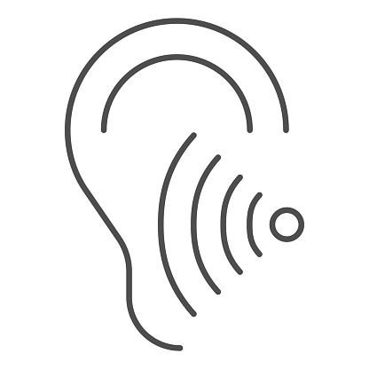 Hearing test thin line icon, Medical tests concept, Volume listen sign on white background, Sound wave going through human ear icon in outline style for mobile and web design. Vector graphics.