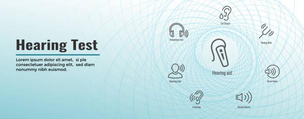聽力測試網路標頭橫幅-聲波圖像集 - hearing aid 幅插畫檔、美工圖案、卡通及圖標