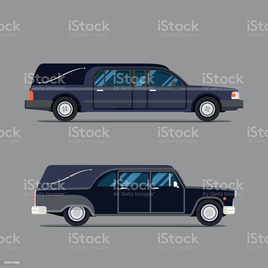 Катафалк черный автомобиль. Плоский икона стиля. Изолированных иллюстрация. Гроб. векторная иллюстрация