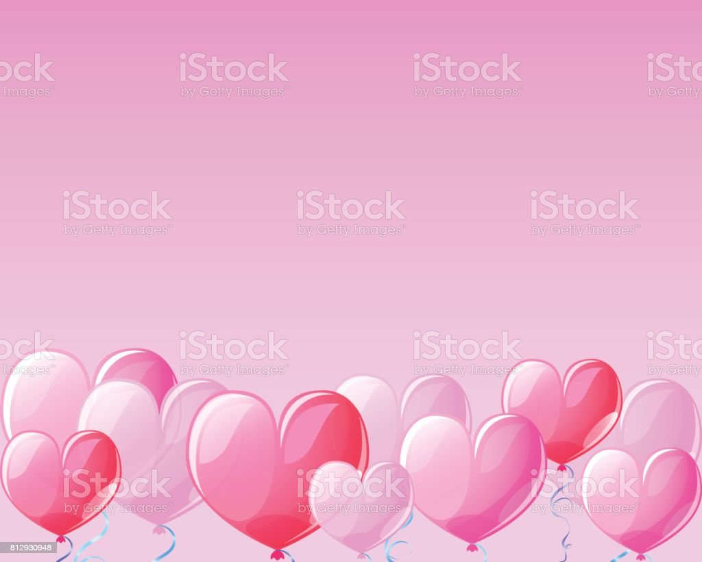 Heart air balloons on pink banner background for St Valentine Day. vector art illustration