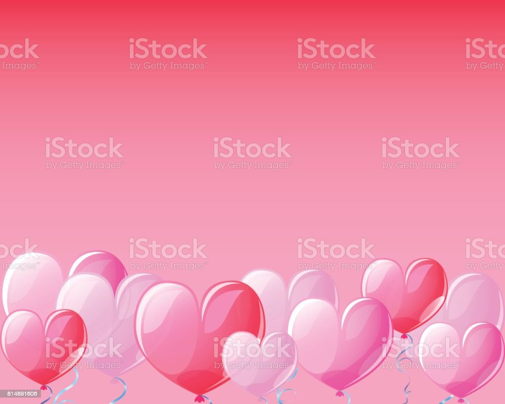 Heart air balloons on red banner background for St Valentine Day. vector art illustration