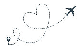 istock Heart airplane route. Vector airplane heart flight from location pin, travel and delivery icon 1138089498