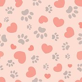 Seamless pattern with hearts and paw prints of animals.