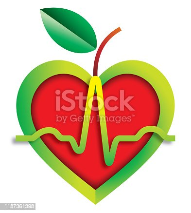 A heart shaped apple with a heartbeat pulse trace running across it . Isolated.