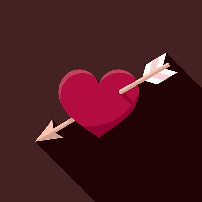Heart and Arrow Flat Design Valentine's Day Romance Icon