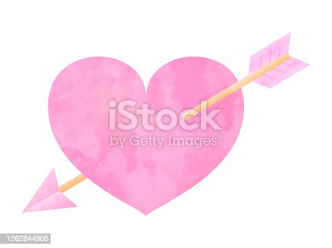 Vector illustration of watercolor texture heart and arrow