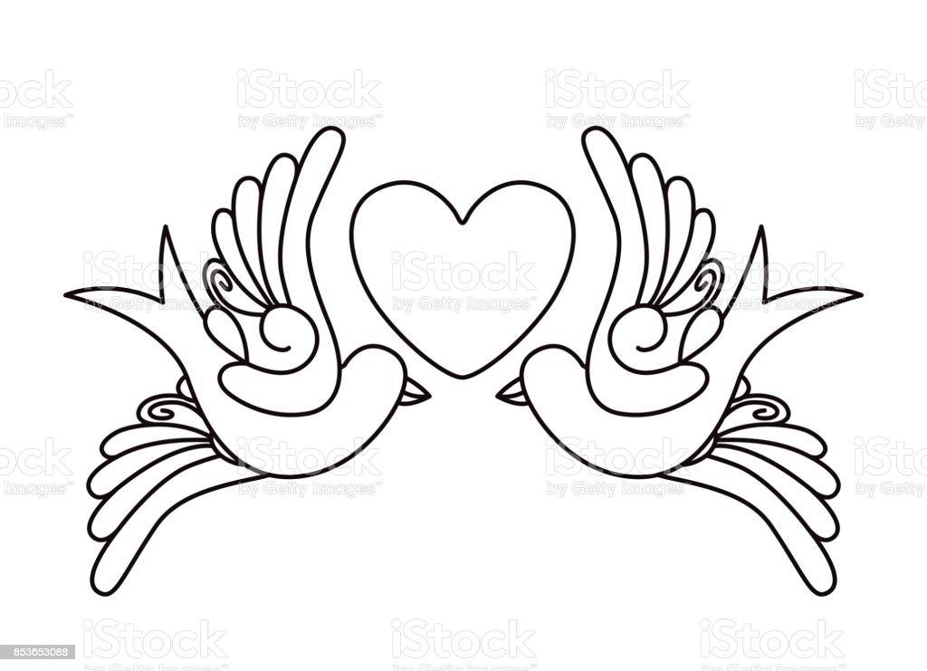 Vetores De Coração E Pássaros Tatuagem Desenho ícone Isolado