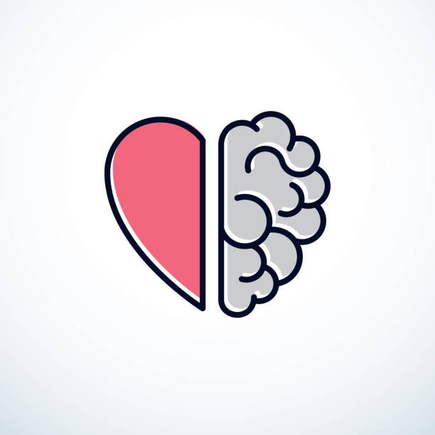 ilustraciones, imágenes clip art, dibujos animados e iconos de stock de concepto de corazón y el cerebro, conflicto entre emociones y pensamiento racional, trabajo en equipo y equilibrio entre el alma y la inteligencia. diseño de icono de vector. - brain