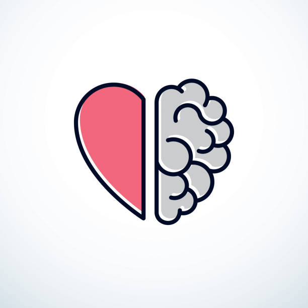 Heart and Brain concept, conflict between emotions and rational thinking, teamwork and balance between soul and intelligence. Vector icon design. Heart and Brain concept, conflict between emotions and rational thinking, teamwork and balance between soul and intelligence. Vector icon design. brain stock illustrations