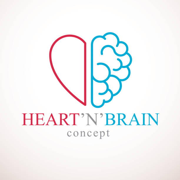heart and brain concept, conflict between emotions and rational thinking, teamwork and balance between soul and intelligence. vector icon design. - inteligencja stock illustrations