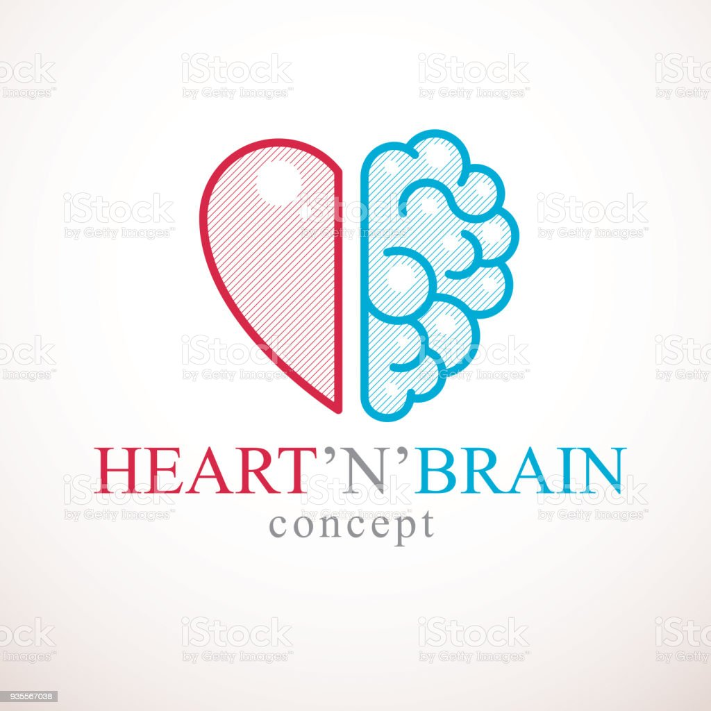 Heart and Brain concept, conflict between emotions and rational thinking, teamwork and balance between soul and intelligence. Vector icon design. vector art illustration