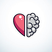Heart and Brain concept, conflict between emotions and rational thinking, teamwork and balance between soul and intelligence. Vector icon design.
