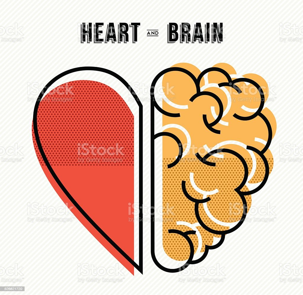 Heart and brain concept design in modern style vector art illustration