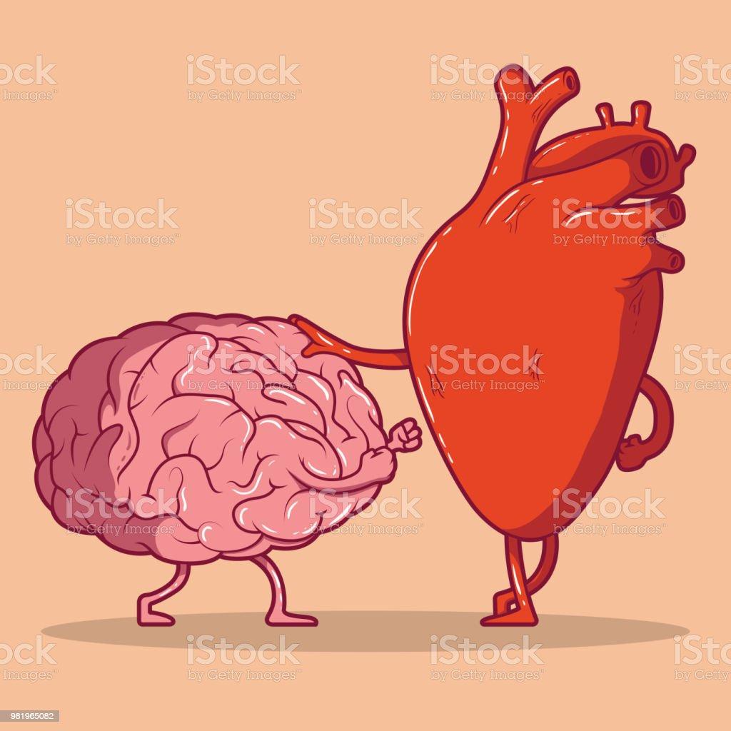 Heart and brain fighting vector illustration. vector art illustration
