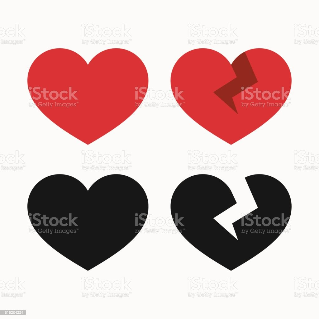 Heart and broken heart icons vector art illustration