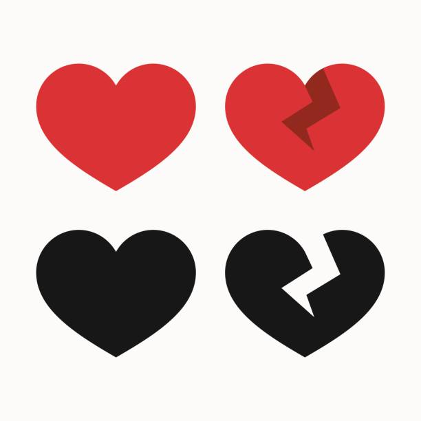 Heart and broken heart icons Heart icons, whole and broken, like and dislikes symbols vector illustration sentimentality stock illustrations