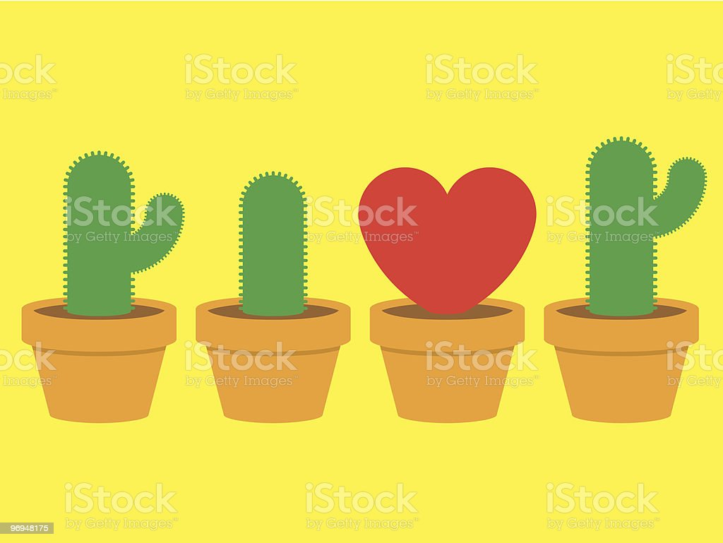 Heart and cactus in pots royalty-free heart and cactus in pots stock vector art & more images of brown