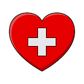 heart and cross. Vector health care icon design isolated on white background