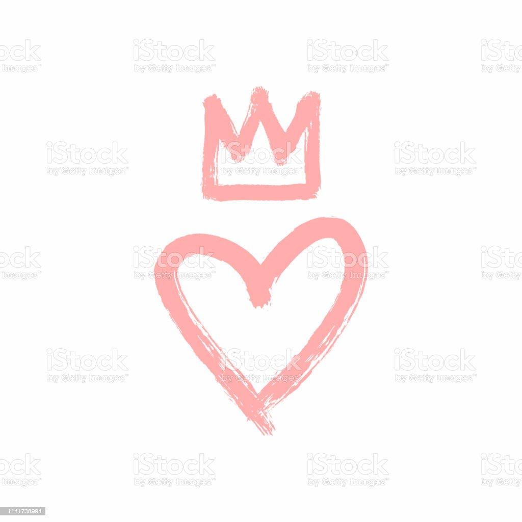Coeur et Couronne dessinés à la main avec un pinceau rugueux. Croquis, grunge, aquarelle, peinture, graffiti. - clipart vectoriel de Amour libre de droits