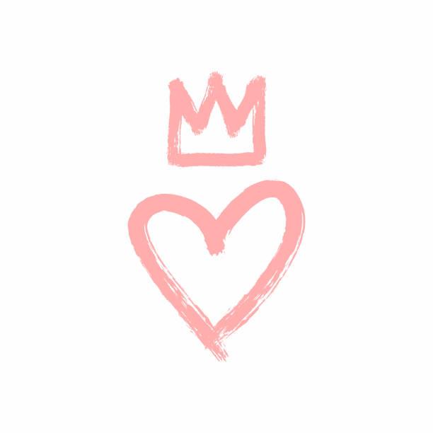 illustrations, cliparts, dessins animés et icônes de coeur et couronne dessinés à la main avec un pinceau rugueux. croquis, grunge, aquarelle, peinture, graffiti. - couronne reine