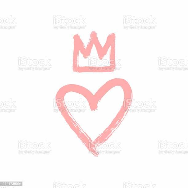 Coeur Et Couronne Dessinés À La Main Avec Un Pinceau Rugueux Croquis Grunge Aquarelle Peinture Graffiti Vecteurs libres de droits et plus d'images vectorielles de Amour