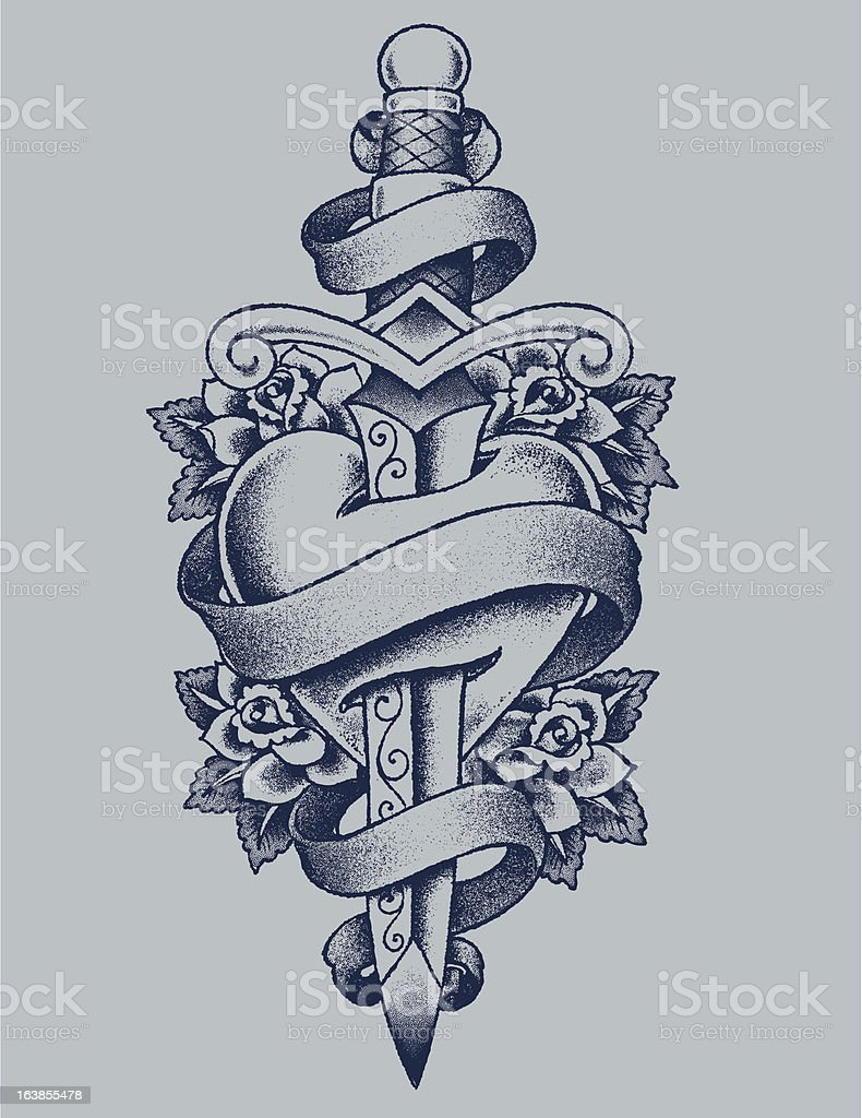 Heart and Dagger vector art illustration
