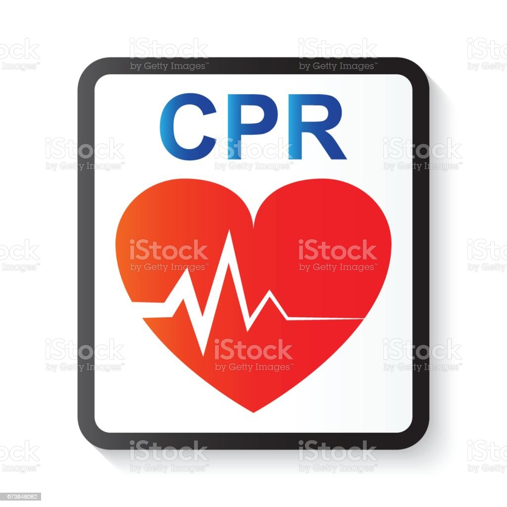 CPR ( cardiopulmonary resuscitation ) , heart and ECG ( Electrocardiogram ) ( image for basic life support and advanced cardiac life support ) vector art illustration