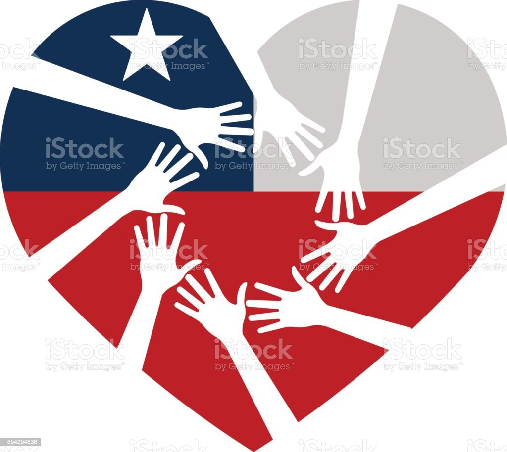 Heart and Hands Helping Texas and Florida. Vector illustration vector art illustration