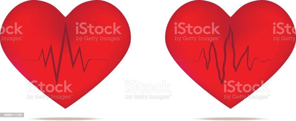 Heart And Heart Wave Heart Beats Stock Illustration