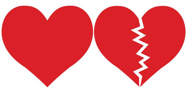 heart and Heartbreak, love and parting heart and Heartbreak, love and parting, Red heartbreak broken or divorce flat icon for apps and websites vector alimony stock illustrations