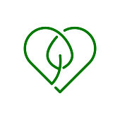 Single line logo template. Think green. Sustainable lifestyle. Environmental protection. Love Earth. Vector illustration.