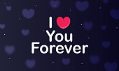"""heart and lettering """"Love you forever"""" stock illustration"""