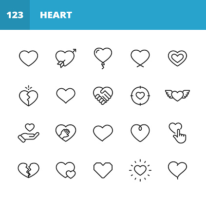 20 Heart and Love Outline Icons.