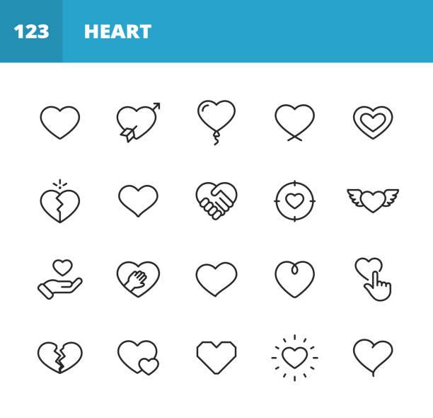 stockillustraties, clipart, cartoons en iconen met hart en liefde line iconen. bewerkbare slag. pixel perfect. voor mobiel en web. bevat iconen als heart, love, emotion, relationship, marriage, wedding, parenting, family, broken heart, dating, happiness, pulse trace, valentine's day, romance. - liefdesverdriet