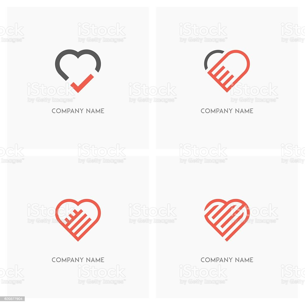 Heart and love logo vector art illustration