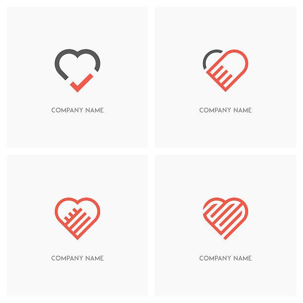Heart and love logo vector art illustration