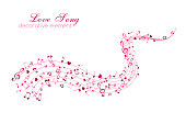 Heart and Notes on the horizontal wavy path. Love Music decoration element isolated on the white background.