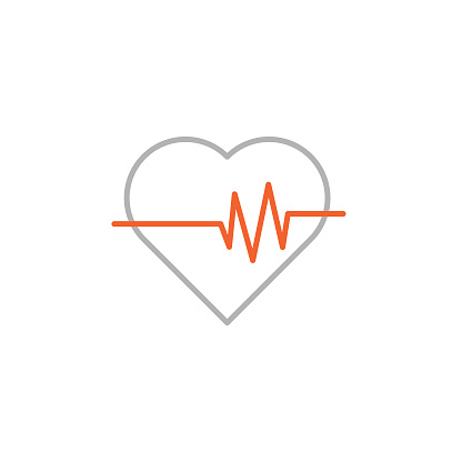 Heart and Pulse Trace Icon with Editable Stroke