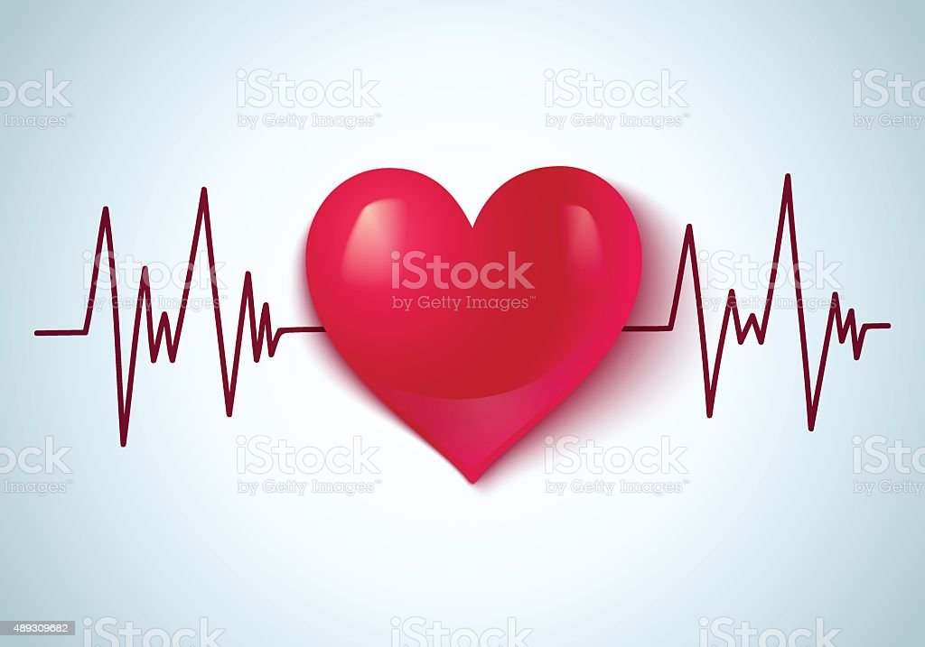 heart and pulse vector art illustration