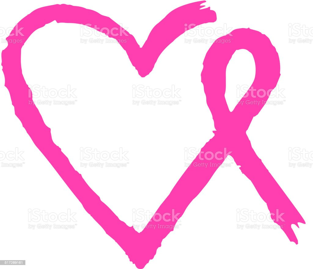 heart and ribbon brush stock vector art more images of breast rh istockphoto com Cancer Boxing Glove Clip Art Cancer Awareness Ribbon Clip Art
